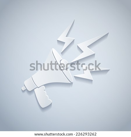 illustration of a white paper megaphone - stock vector
