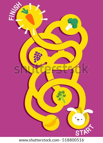 Illustration of a Winding Maze with a Rabbit on One End and a Carrot on the Other