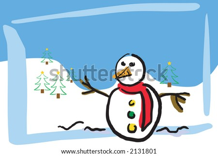 Illustration of a winter scene - stock vector