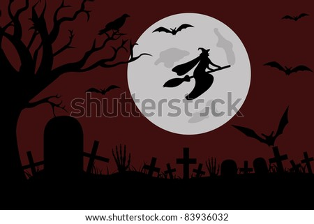Illustration of a witch flying over a cemetery