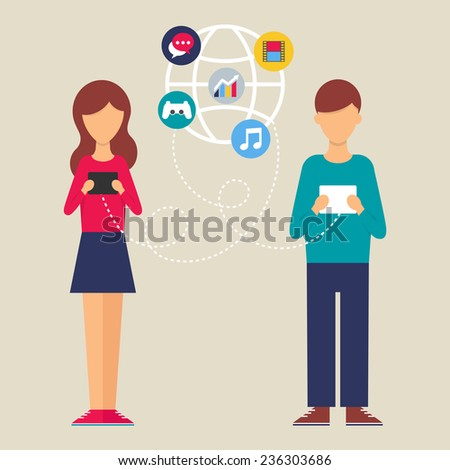 Illustration of a woman and a man using tablet. Flat design style modern vector illustration for web  - stock vector