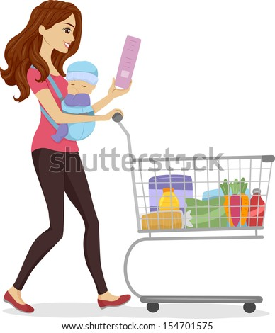 Illustration Woman Doing Some Grocery Shopping Stock