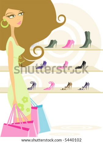 Illustration of a Woman Holding Shopping Bags - stock vector