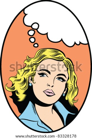 Illustration of a woman thinking - stock vector