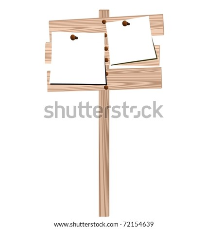 Illustration of a wooden billboard with the enclosed nails pure sheet isolated on white background - vector