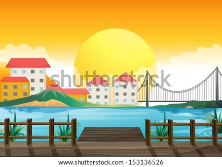 Illustration of a wooden bridge across the tall buildings - stock vector
