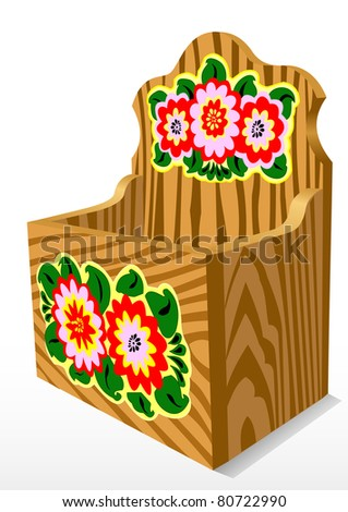 Illustration of a wooden casket with a pattern - stock vector