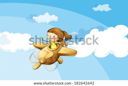 Illustration of a wooden plane with a girl - stock vector