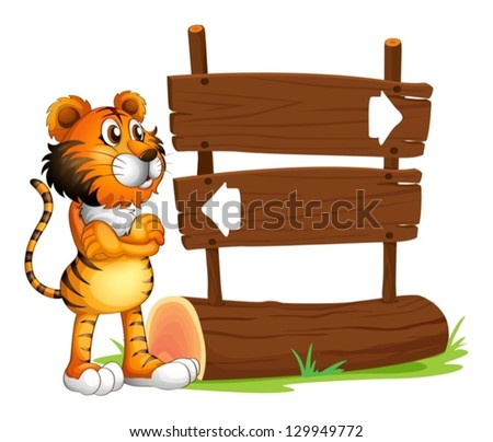 Illustration of a wooden signboard with a tiger on a white background