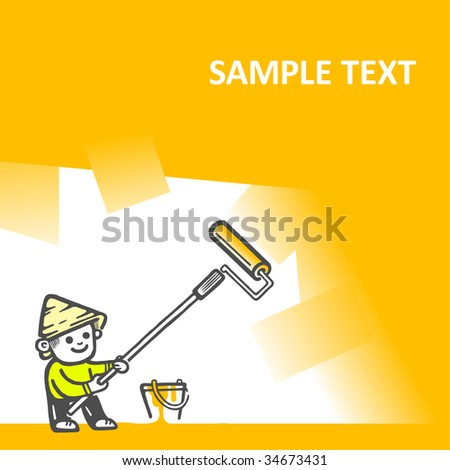 Illustration of a worker painting a wall. Vector illustration. - stock vector