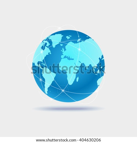 Illustration of a world globe isolated on a white background - stock vector