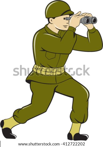 Illustration of a World War One American soldier serviceman looking through the binoculars viewed from the side set on isolated white background done in cartoon style.  - stock vector