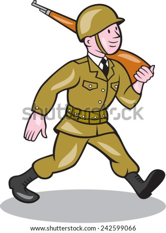 Illustration of a World War two American soldier serviceman marching with assault rifle viewed from side on isolated white background  done in cartoon style. - stock vector