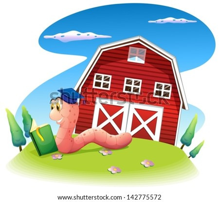 Illustration of a worm reading at the hill with a barnhouse on a white background