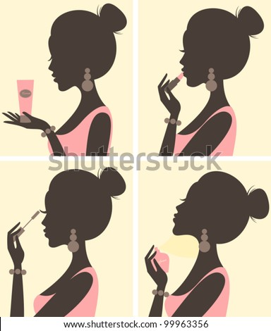 Illustration of a young beautiful woman and her beauty routine. - stock vector