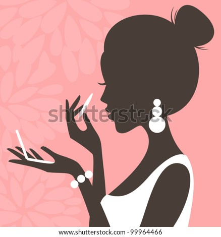 Illustration of a young beautiful woman applying compact powder on her face. - stock vector
