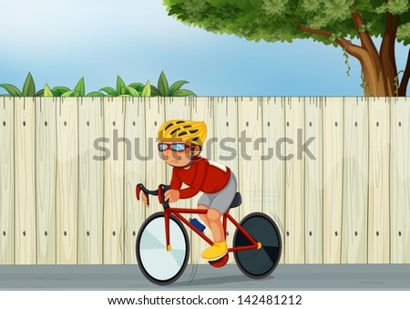 Illustration of a young boy biking - stock vector