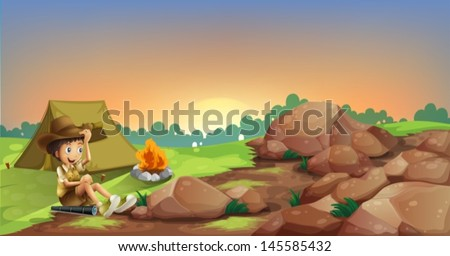 Illustration of a young boy camping near the rocks - stock vector