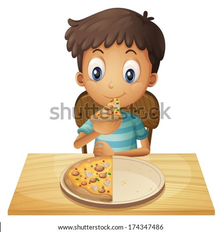 Illustration of a young boy eating pizza on a white background - stock vector