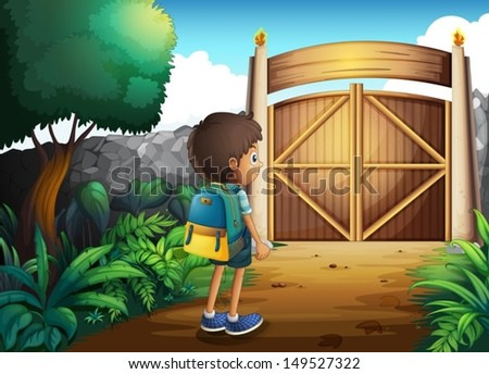 Illustration of a young boy going to the school - stock vector