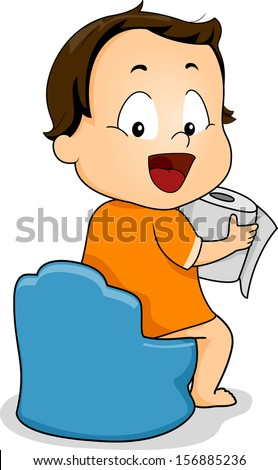 Illustration of a Young Boy Holding a Roll of Toilet Paper While Sitting on a Potty - stock vector