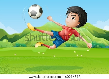 Illustration of a young boy playing football at the field - stock vector