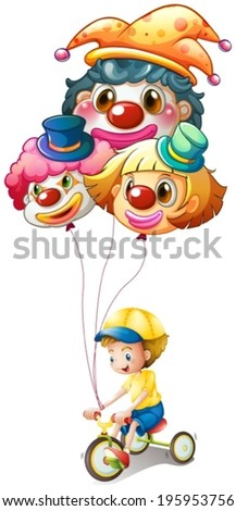 Illustration of a young boy riding a bike with three balloons on a white background - stock vector