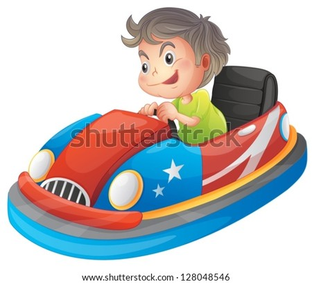 Illustration of a young boy riding a bumper car on a white background - stock vector