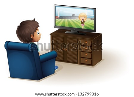 Illustration of a young boy watching a television on a white background - stock vector