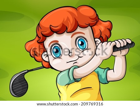 Illustration of a young child playing golf - stock vector