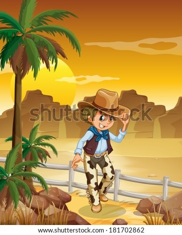 Illustration of a young cowboy at the desert - stock vector