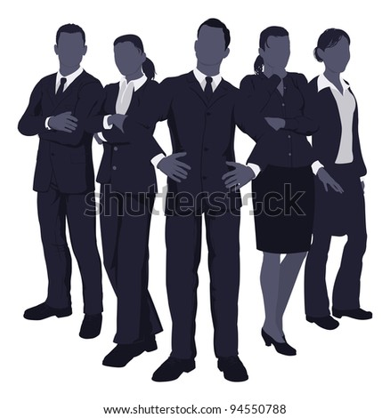 Illustration of a young dynamic smart business team - stock vector