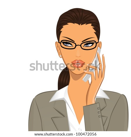 Illustration of a young female professional talking on the mobile phone. - stock vector