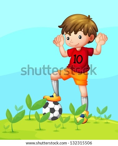 Illustration of a young football player