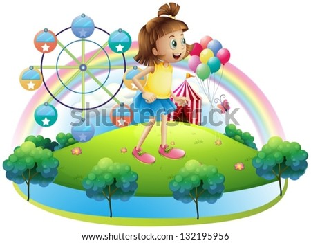 Illustration of a young girl at the amusement park on a white background - stock vector