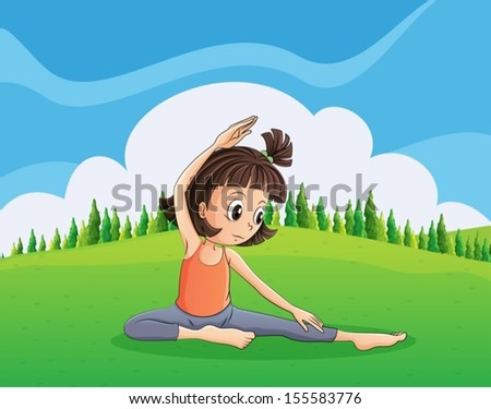 Illustration of a young girl doing yoga at the hilltop - stock vector