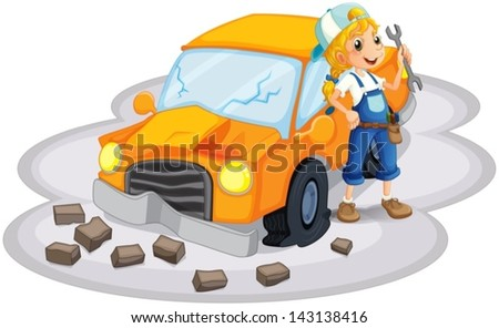 Illustration of a young girl fixing an orange car on a white background - stock vector