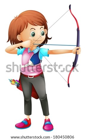 Illustration of a young girl playing archery on a white background