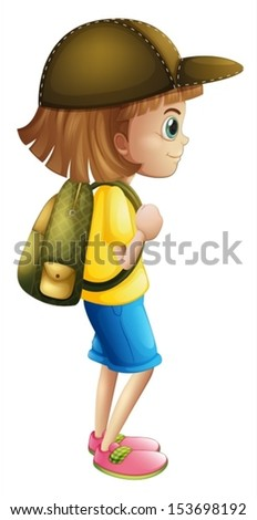 Illustration of a young girl ready for hiking on a white background - stock vector