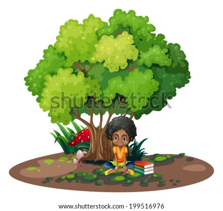 Illustration of a young girl under the tree beside her books on a white background