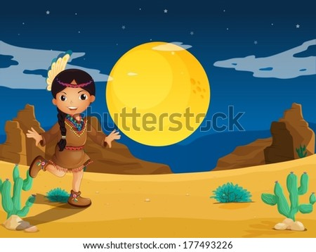 Illustration of a young Indian girl at the desert - stock vector