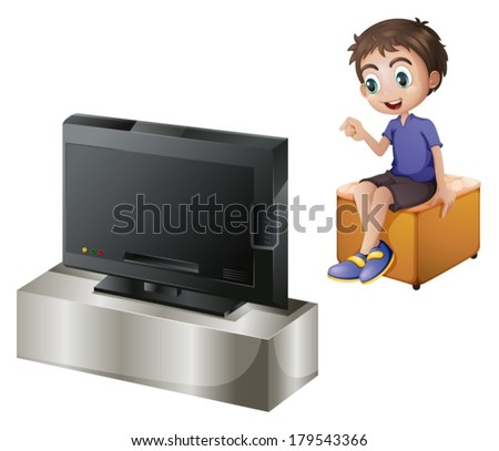 Illustration of a young man watching TV on a white background - stock vector
