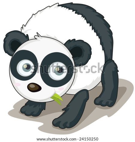 illustration of a young panda eating leaves
