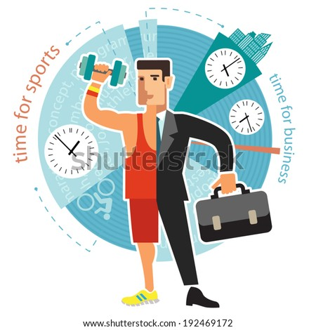 Illustration of a young person manages to do business and sports. Infographics for presentations and reports. Flat design. - stock vector
