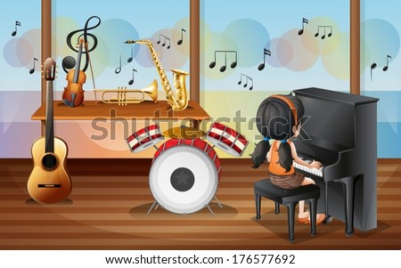 Illustration of a young pianist inside the music room - stock vector