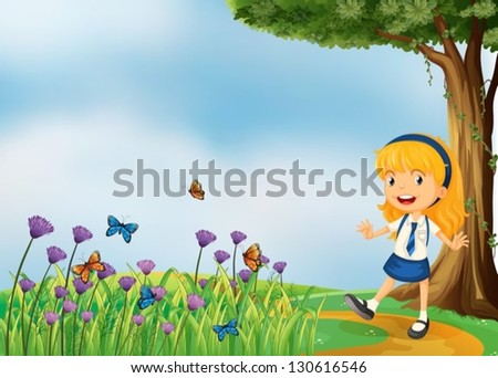 Illustration of a young school girl in the garden with butterflies