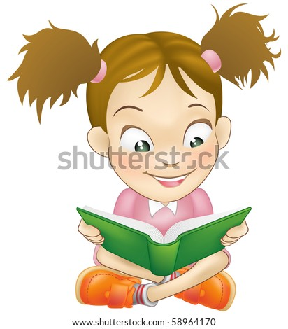 Illustration of a young sweet girl child happily reading a book - stock vector