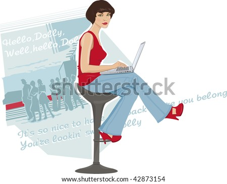 Illustration of a young woman sitting by the computer - stock vector
