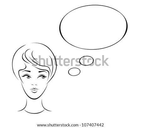 Illustration of a young woman thinking. - stock vector