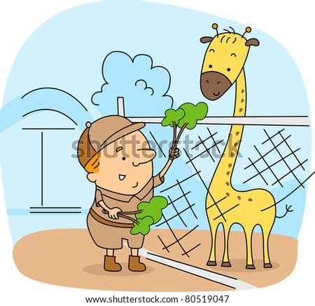 Illustration of a Zoo Caretaker at Work - stock vector